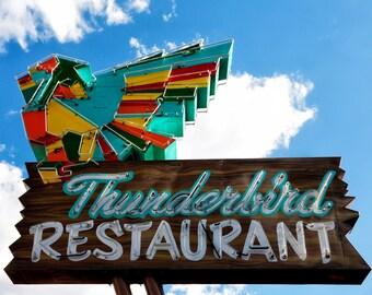 Thunderbird Restaurant, Retro Neon Sign, Kitchen Wall Decor, Vintage Wall Art, Vintage Neon Sign, Restaurant Sign, Zion Park, Whimsical Art