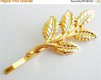 ON SALE Gold leaf  branch hair pin,bobby pin