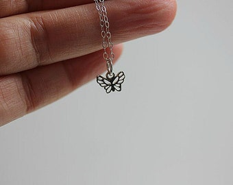 Super Tiny Butterfly Charm, Sterling Silver Butterfly necklace, Silver Butterfly necklace, Butterfly Necklace, Little Girls Necklace