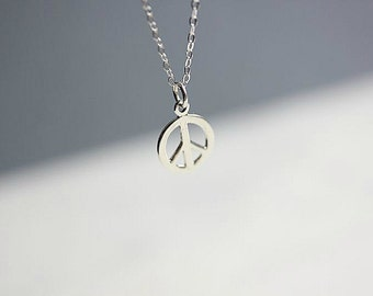PEACE Sign necklace  - Peace Symbol Necklace - Gift for Her - Gift for Him - Peace necklace in Sterling Silver - Birthday - Graduation