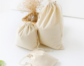 50pcs-100% Natural Cotton Bags Drawstring Promotional Muslin Bags Pouch Wedding Favor Gift Packaging Bag Jewelry Party Bags