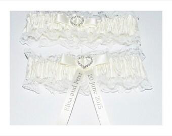 Personalised Wedding Garter Ivory Bridal Set Bride Groom Names Wedding Keepsake Momento