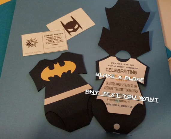 batman onesie invitation diaper raffle card custom die cut baby