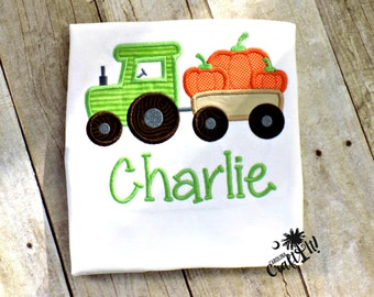 Fall Boys Shirt, Boys Tractor and Pumpkins Shirt, Boys Pumpkin Patch Shirt, Toddler Boys Fall Shirt,  Appliqued, Embroidered, Personalized,