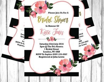 Bridal Shower Invitation | Water Flower Invitation Printable Custom Download | Bride Party Invite | Wedding