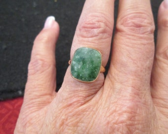 Genuine JADE and gold ring, vintage yet new>> sizes 5, 5.5, and 6