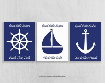 Nautical Bathroom Art Set of 3 - Instant Download!! - 8 x 10 - Navy and White - Bathroom Wall Art Download