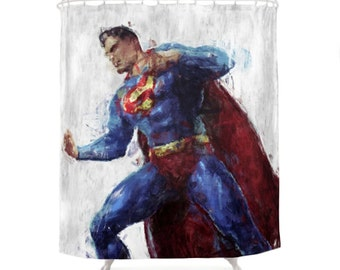 Superman Shower Curtain, Hero Character, DC Comics, Clark Kent Print, Geek  Bathroom