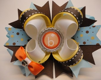 """Girl Scouts BROWNIES Boutique Stacked Hair Bow Brown/Blue/Lt.Gold/Orange W 5.0"""" x L 4.5"""" x H 2.0"""""""