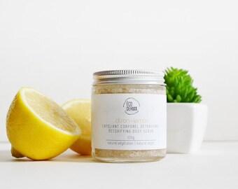 Lemon Body Scrub, ecoderma, sugar scrub, natural, organic, skincare, detoxifying scrub, vegan, gift, handmade gift