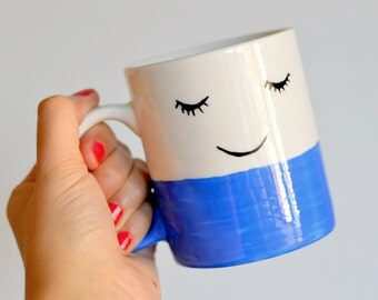 Happy Face Mug - Unique Coffee Mug - Happy Tea Cup - Face Illustration - Hipster Gift - Housewarming - Good Morning - Feelgood - Smile