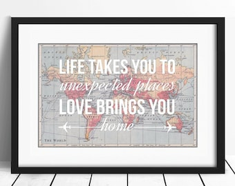 Personalized World Map Print, Travel Poster, Map Quote, Wanderlust Poster, World Map Poster, A2, Love Quote, Wedding Gift, Map of World