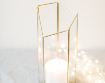 Large Geometric Vase - Centerpiece - Home Decor - Modern Home - Gold Modern Vase - Minimalist Glass Vase - Wedding Decor