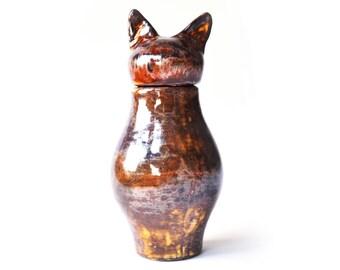 Basst Cat Urn-  Copper