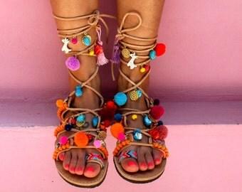"Greek Sandals, Tie Up Gladiator Sandals, Pom Pom Sandals, Bohemian, Swarovski Crystals, ""Hawaii"""