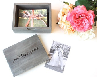 Wedding Photo Box: handmade, heirloom-quality, solid wood picture box in driftwood grey with laser engraving
