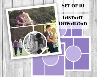 Storyboard collage templates Set of 10, instant download photoshop templates, square instagram collages, blogger template, 10x10 psd files