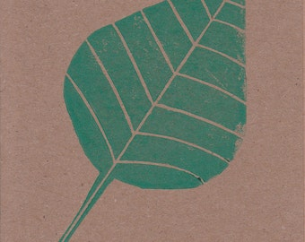Abstract Image of a Leaf Print onto an A6 Kraft Greetings Card