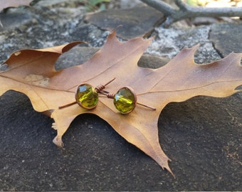 Olive  Hanglider Glass Bead Earrings