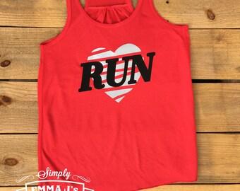 Running shirt, love to run, workout tank, running tank, racerback tank