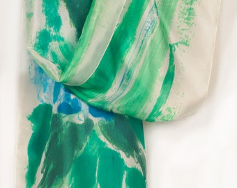 Floral silk scarf. Handpainted silk scarf. Aqua, turquoise and emerald scarf. Abstract painting on silk by Dimo