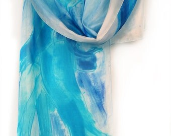 Hand painted floral scarf. Abstract, ocean colored scarf. Painted silk scarf, Summer luxury silk scarf. Painting on silk by Dimo