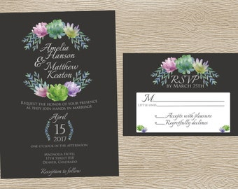 Purple/Green Succulent and Floral Wedding Wedding Invitation Set