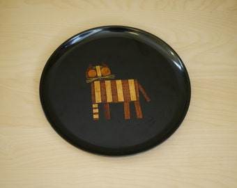 Couroc Round Tray / Cat Inlay
