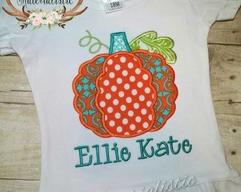 Personalized girl's or boy's monogrammed pumpkin shirt or bodysuit. Fall, Halloween, Thanksgiving. FREE name or monogram!