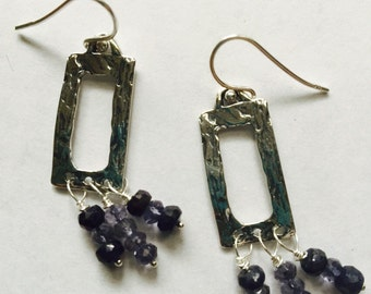 THE BLUE BEAUTIES - Sterling Silver and Vintage Stone Boho Earrings
