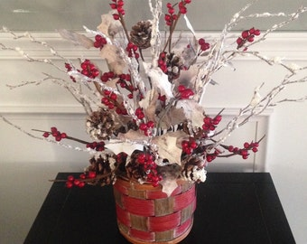 Bark Holly with berries arrangement