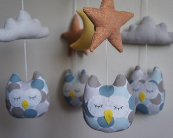 Mobile owls sky blue orange star white cloud and Yellow Moon baby