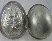 Vintage Chocolate EGG MOLD, Mould: Rabbits Dressed in Vests, One with Carrot, 3 Eggs, One is Hatching, FROG Pops out, Floral Border, 2 Sided