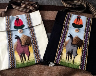 Hand Sewn Purse/Shoulder Bag with Llama Design from Peru