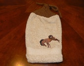 Embroidered Hanging Bucking Bronco Dish Towel with Handknit Topper and Ties