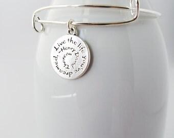 Live the life you've dreamed - silver plated bangle bracelet with inspirational charm - Thoreau