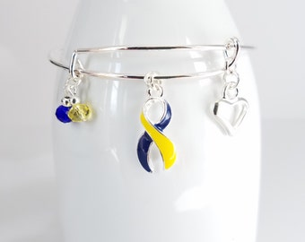 Down Syndrome awareness silver plated bangle bracelet