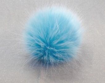 Size XS (turquoise) faux fur pom pom 4 inches/ 10cm