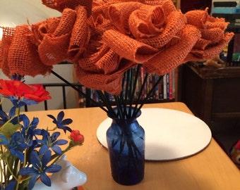 Orange Burlap Flowers with Stems