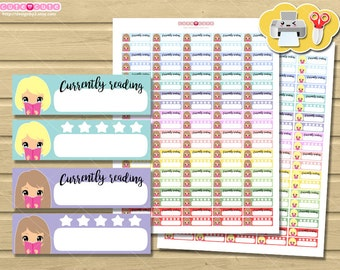 Chic Blonde Plannergirl Reading, Kawaii Printable Planner  stickers for your life planner.