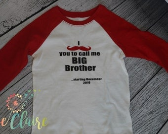 Big Brother Baby Announcement I Mustache T-Shirt I  Big Brother TShirt I Pregnancy Announcement Shirt I FREE SHIPPING