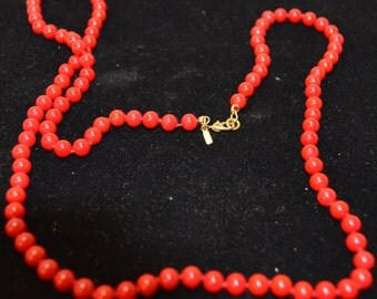 """Vintage Estate Jewelry Monet Necklace Blood Red Beads Single Strand 27"""""""
