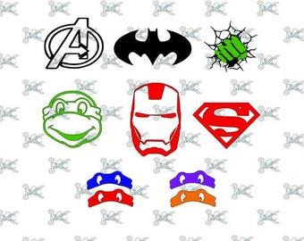 Superhero Svg Cuttable Files, Ninja Turtle SVG Design, Studio 3 file, Batman, Superman, Teenage mutant ninja turtle, Ironman, Hulk, TMNT