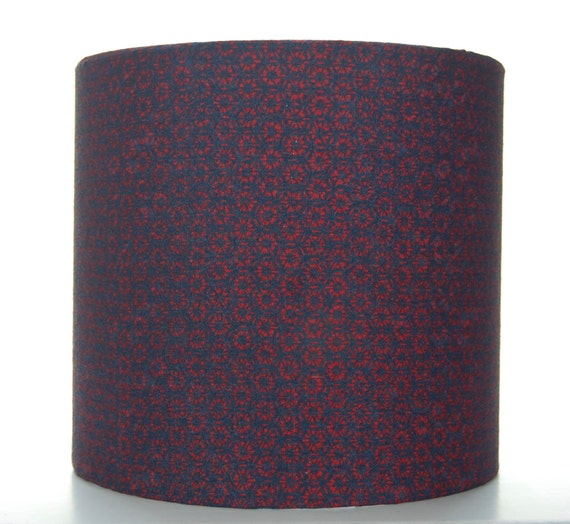 Red & Navy Silk Lampshade, 20cm (8 inch) Drum Covered with Vintage Kimono Silk