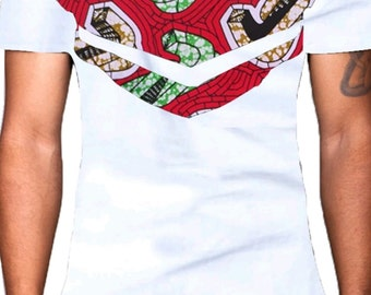 African print men slim fit shirt