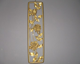Retro Wall Hanging/Dart Ind Made in USA/Gold Flower Wall Hanging/1950's Wall Art