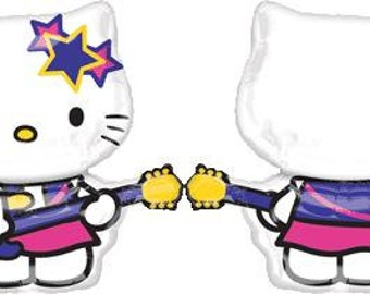 Hello Kitty Rock Star XL SuperShape Birthday Balloons, Hello Kitty Party Decorations, Hello Kitty Birthday Balloons Supplies, Rock Guitar