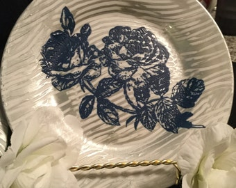 Blue Flower Painted Cake Plates (set of 3)