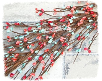 Teal & Coral Berry Garland, Teal Pip Berry, Coral Pip Berry, Southwest Decor, Wedding Garland, Teal Pip Berries