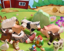 SALE 20% Off! Wooden farm animal set, Waldorf Eco Friendly Toy Set, Large Set of 15, pig, sheep, cow, Toys for Kids, Partyfavors  Boys Girls